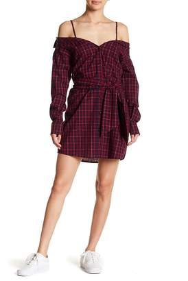 Fate Plaid Cold Shoulder Shirt Dress