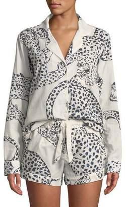 Desmond & Dempsey Leopard Print Classic Short Pajama Set