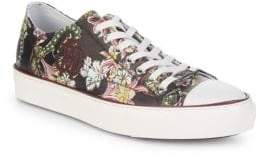 Roberto Cavalli Flower-Print Leather Low-Top Sneakers