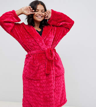 Yours Red Heart Textured Dressing Gown
