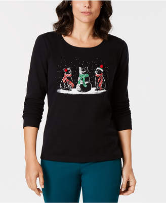 Karen Scott Cotton Embellished Winter Cats Top