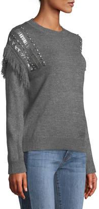 Stellah Beaded Fringe-Trim Sweater