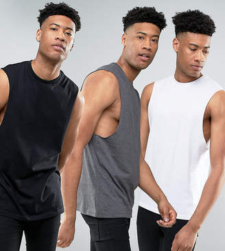 Asos DESIGN Tall relaxed sleeveless t-shirt with dropped armhole 3 pack SAVE