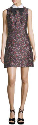 Kate Spade New York Collared Sleeveless Floral-Jacquard Mini Dress
