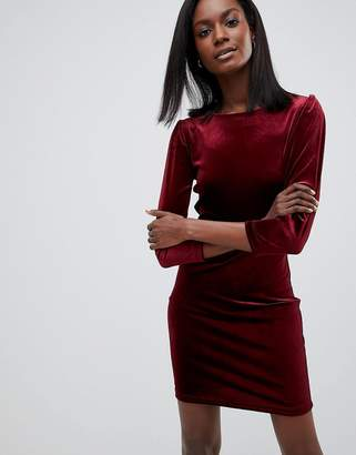 Oasis Velvet Puff Sleeve Dress