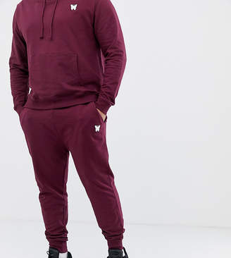 Asos Good For Nothing skinny sweatpants in burgundy with small logo exclusive to