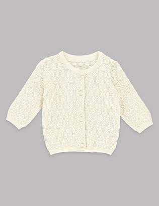 Marks and Spencer Pure Cotton Pointelle Cardigan