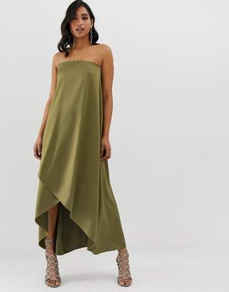 Asos Design DESIGN satin bandeau maxi dress