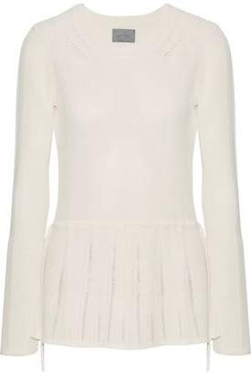 Maiyet Pointelle-Trimmed Ribbed Stretch-Knit Peplum Sweater