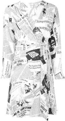 Diane von Furstenberg newspaper print wrap dress