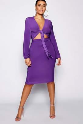 boohoo Plus Slinky Midi Skirt