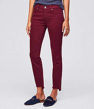 LOFT Curvy Step Hem Skinny Jeans in French Burgundy