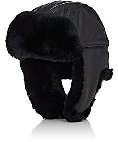 Crown Cap Men's Fur-Trimmed Leather Aviator Hat - Black