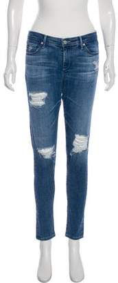 Adriano Goldschmied Distressed Mid-Rise Skinny Jeans