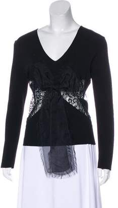 Valentino Lace-Trimmed V-Neck Top
