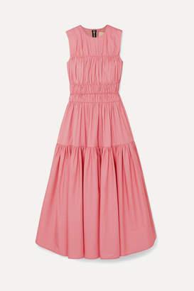 Roksanda Isilda Gathered Cotton-poplin Midi Dress - Pink
