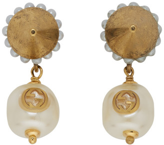 Gucci Gold Interlocking G Pearl Earrings