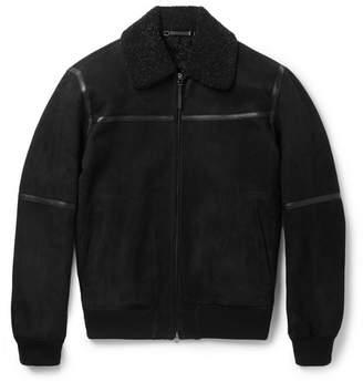 Ermenegildo Zegna Slim-Fit Leather-Trimmed Shearling Jacket