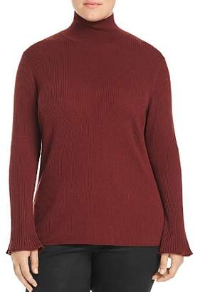 Lafayette 148 New York Plus Ribbed Mock Neck Sweater