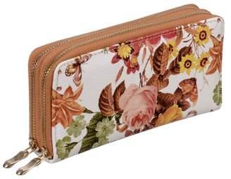 Nicci Floral Double Zipper Around Organizer Wallet Multi