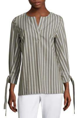 Lafayette 148 New York Paige Striped Tie-Sleeve Blouse