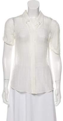 Theory Silk Short-Sleeve Blouse
