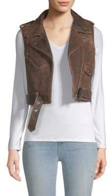 Veda Brazil Leather Moto Vest