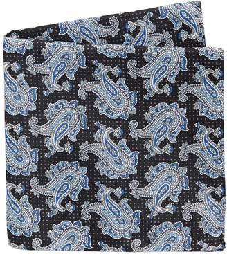 Black Brown 1826 Paisley-Print Silk Pocket Square