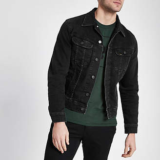 River Island Lee black slim fit denim jacket