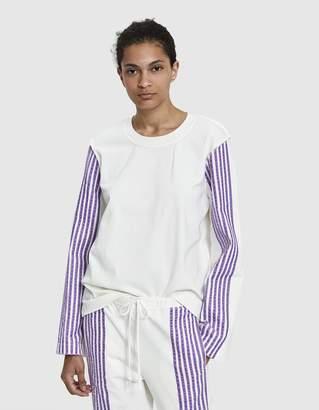 Dima Leu Velvet Stripe T-Shirt in Lilac