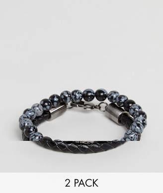 Simon Carter Snowflake Obsidian Beaded Bracelet & Black Leather Bracelet In 2 Pack