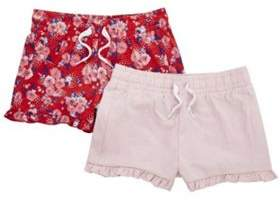 F&F 2 Pack Of Floral And Plain Ruffle Hem Shorts 8-9 years