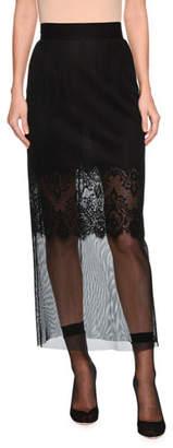Dolce & Gabbana Pencil Midi-Length Skirt with Lace Slip