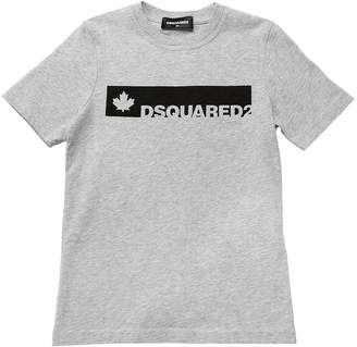 DSQUARED2 Leaf & Logo Print Cotton Jersey T-Shirt