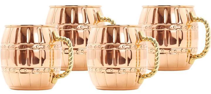 Old Dutch 16 oz. Solid Copper Barrel Mule Mug (Set of 4)