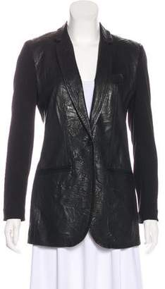 Yigal Azrouel Leather Notch-Lapel Blazer