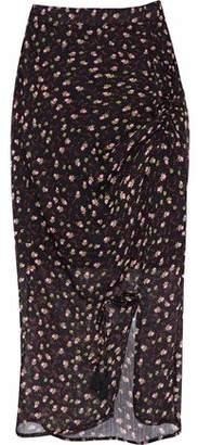 Rebecca Minkoff Amaya Ruched Floral-Print Chiffon Skirt