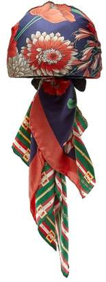 Gucci Logo And Floral Print Headscarf - Womens - Navy