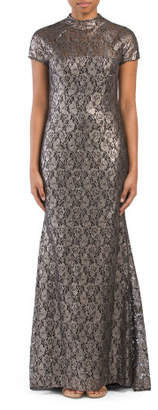 Lace Gown With Flared Back Hem