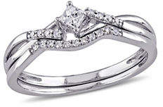 Concerto 0.20 TCW Diamond and Sterling Silver Crossover Bridal Ring