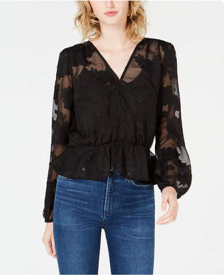 Bar III Burnout Peplum Top