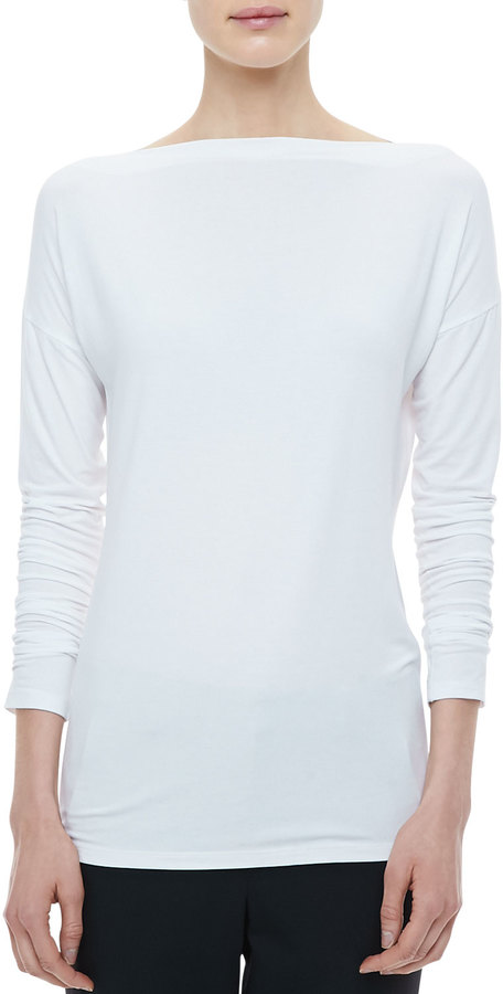 Vince Boat-Neck Long-Sleeve Tee, White