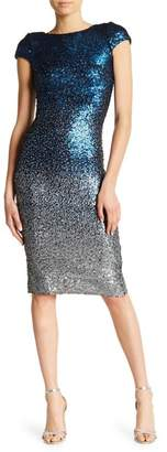 Dress the Population Marcella Cap Sleeve Scoop Back Sequined Dress