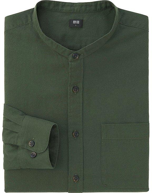Men Flannel Stand Collar Long Sleeve Shirt