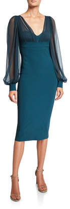 Chiara Boni V-Neck Sheer-Sleeve Empire-Waist Sheath Dress