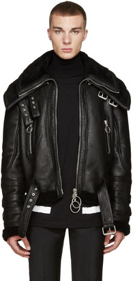 Off-White Black Shearling Double-Collar Jacket $3,750 thestylecure.com