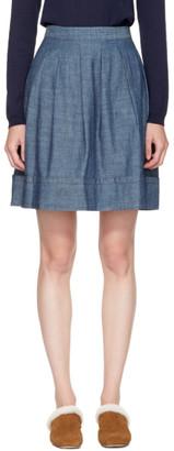 A.P.C. Indigo Umbrella Miniskirt $235 thestylecure.com