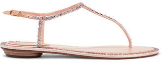 Rene Caovilla Diana Crystal-embellished Leather And Satin Sandals - Antique rose