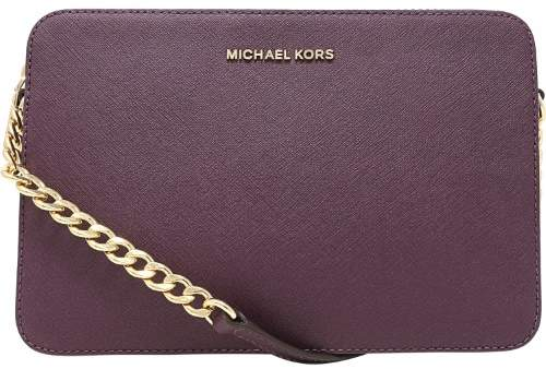 Michael Kors Women's Large Jet Set Saffiano Leather Crossbody Cross Body Bag Satchel - Damson - DAMSON - STYLE