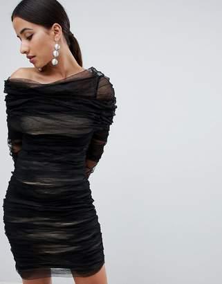 Forever Unique Ruched Off The Shoulder Dress